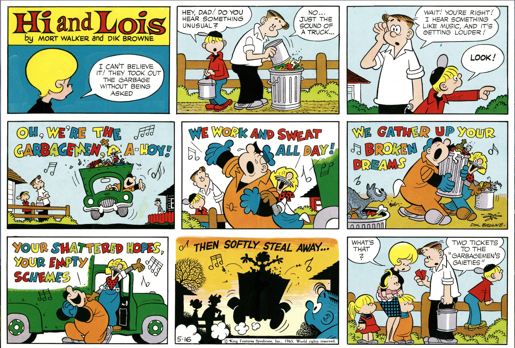 Hi and Lois Sunday page color proof, May 16, 1965.