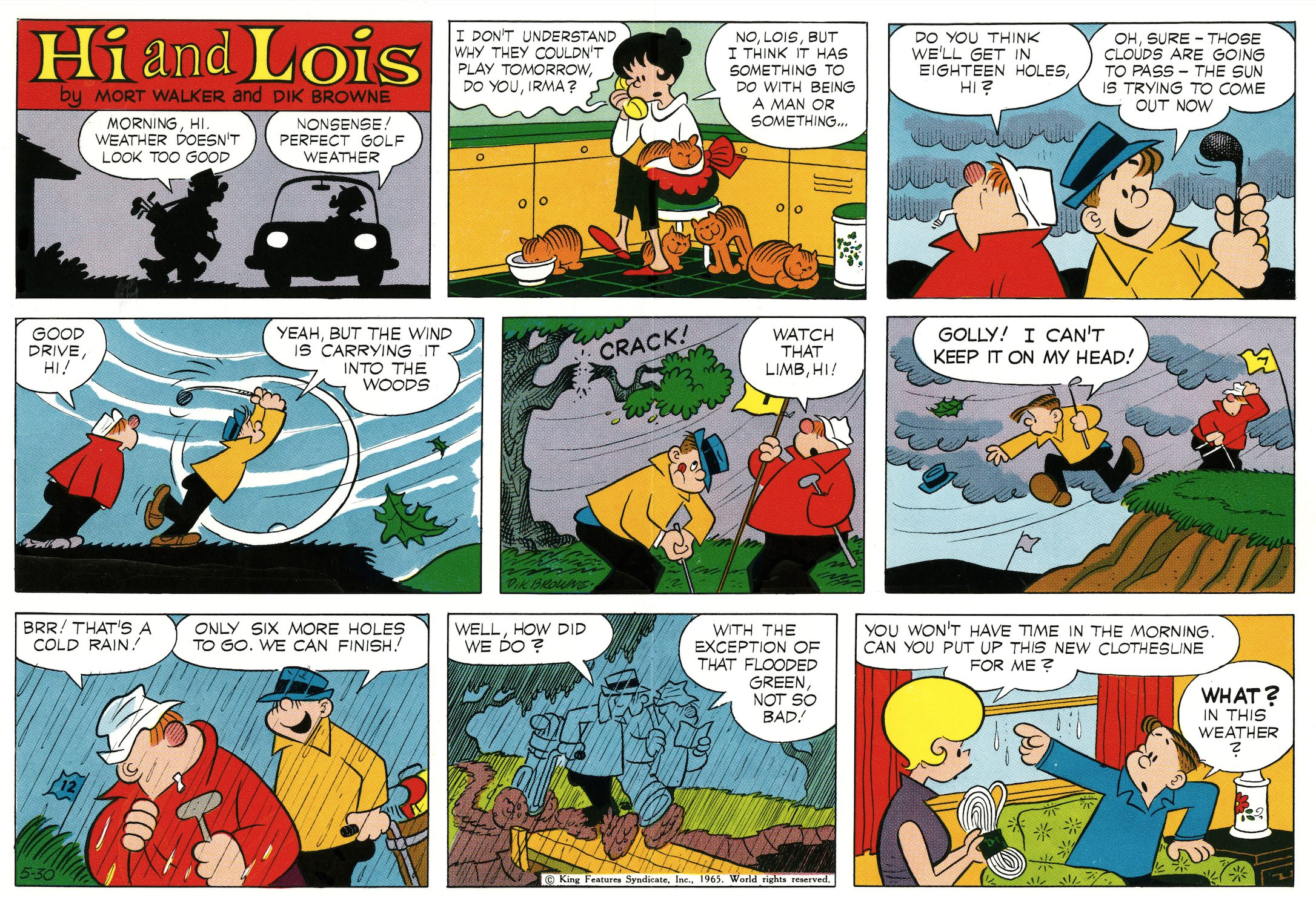 Hi and Lois Sunday page color proof, May 30, 1965.