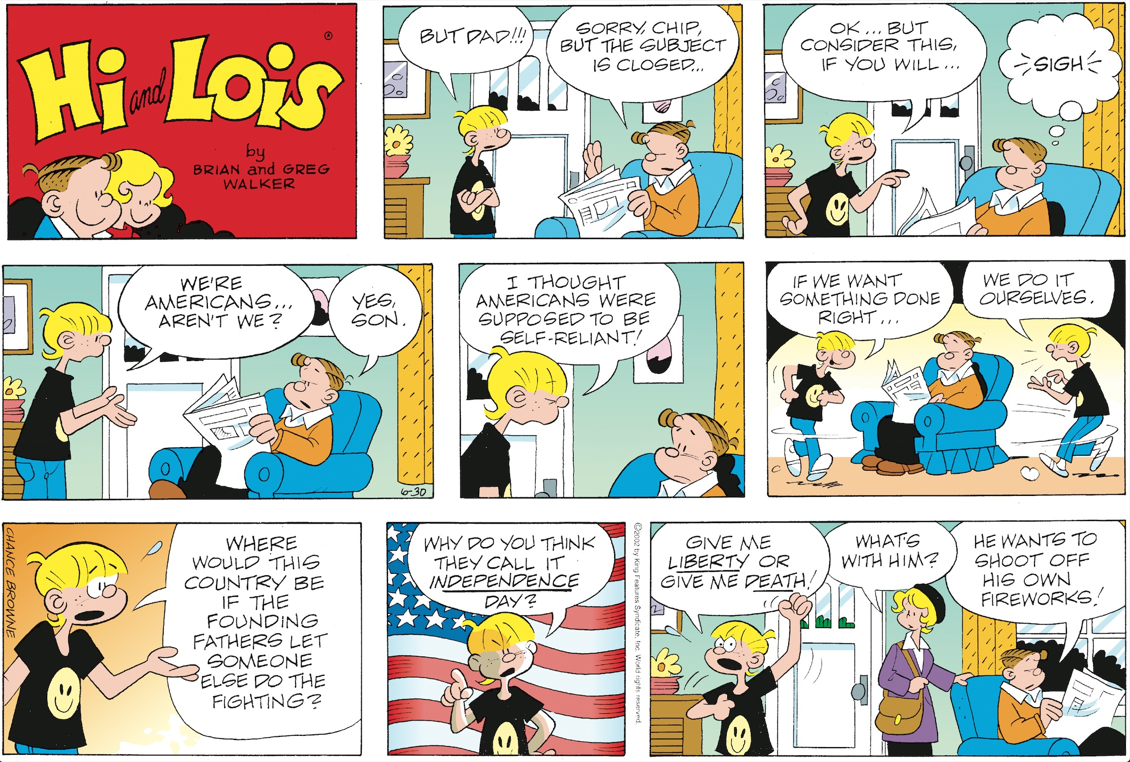 Hi and Lois Sunday page, June 30, 2002.