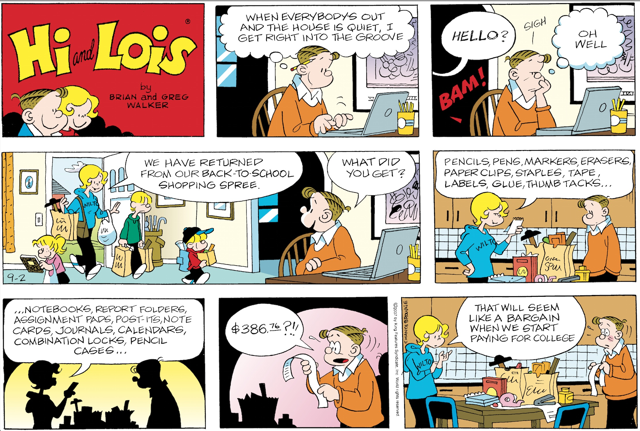 Hi and Lois Sunday page, September 2, 2007.