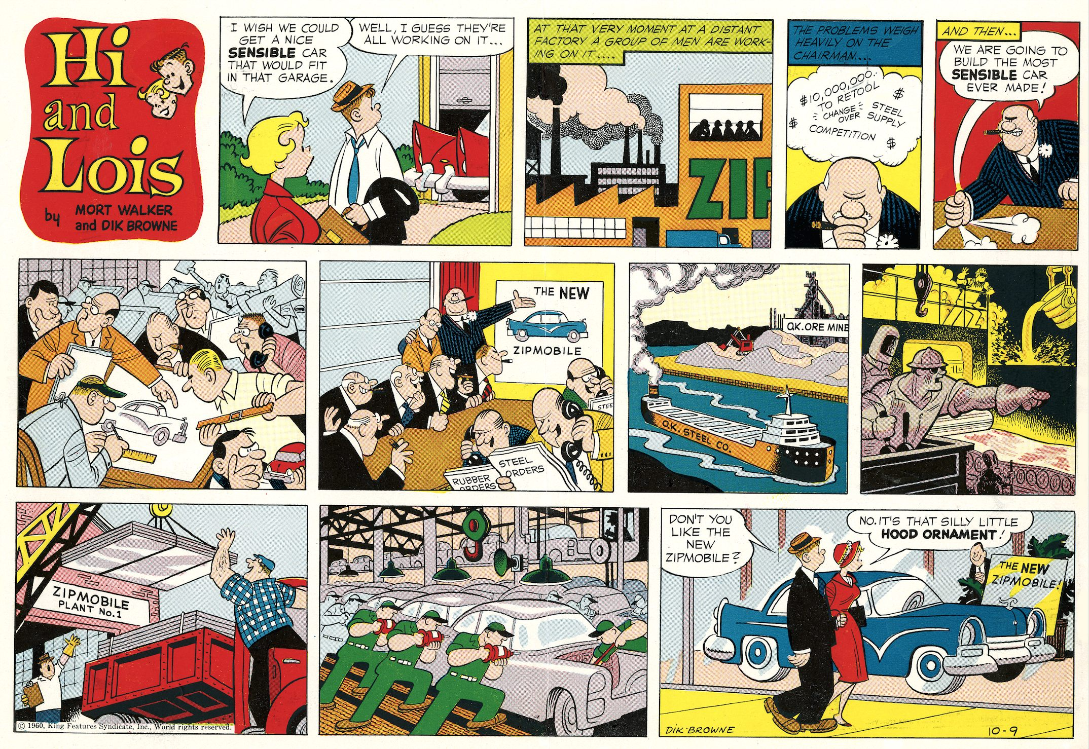Hi and Lois Sunday page color proof, October 9, 1960.