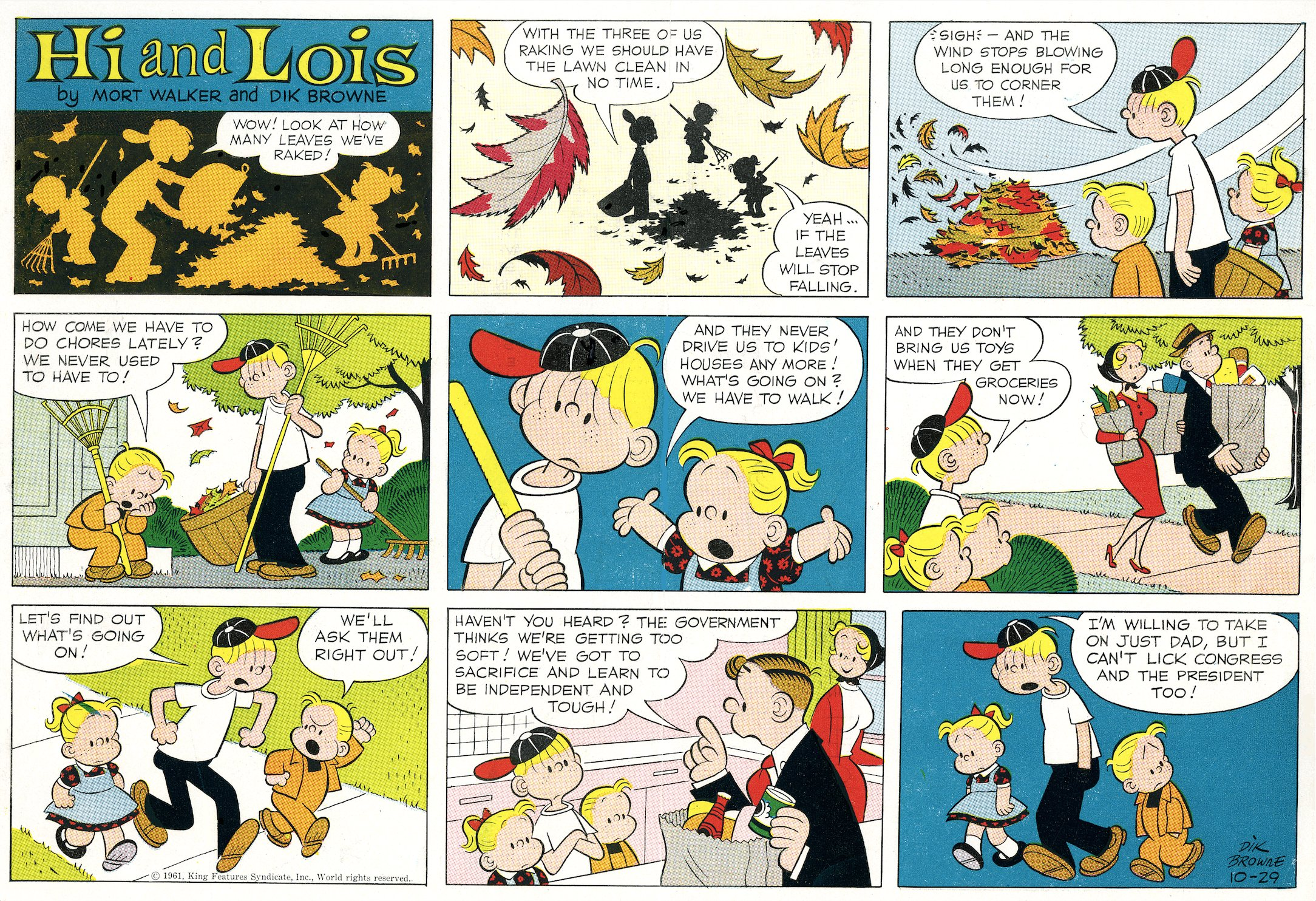 Hi and Lois Sunday page color proof, October 29, 1961.