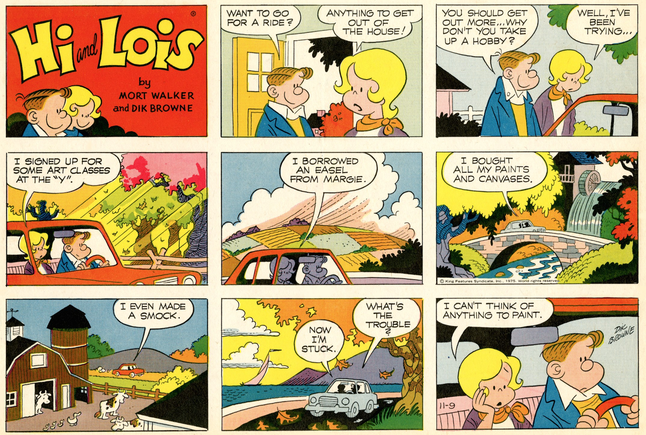 Hi and Lois Sunday page, November 9, 1975.