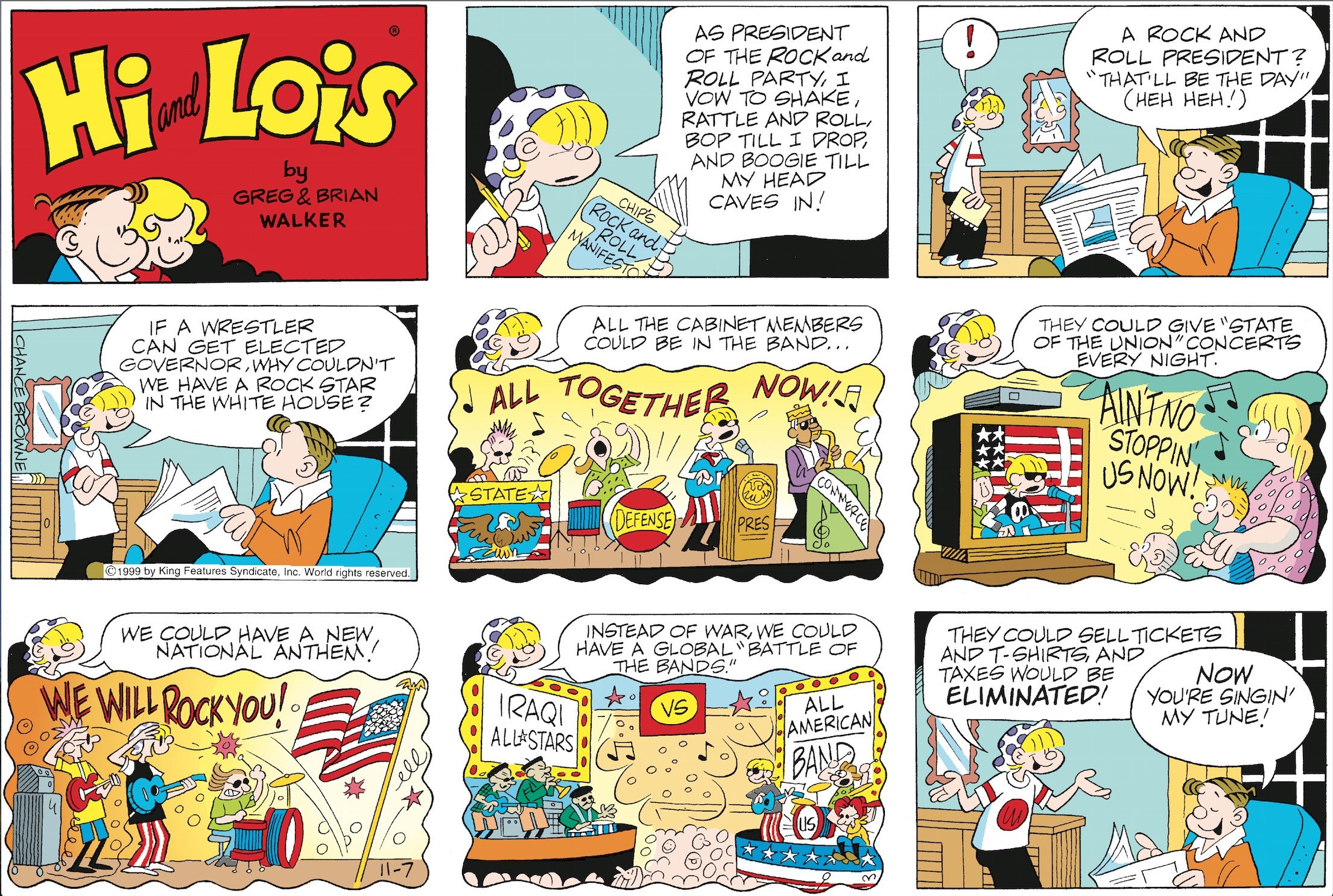 Hi and Lois Sunday page, November 7, 1999.