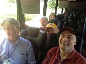 "Taking a bus from the hotel to the Library of Congress to hear a panel discussion entitled ""Cartooning and Our Culture.""  On the bus near me were cartoonists, Bill Holbrook (On The Fastrack, Safe Havens, Kevin and Kell), Greg Cravens (The Buckets, Hubris), Frank Pauer, John Read, and my wife, Karen."