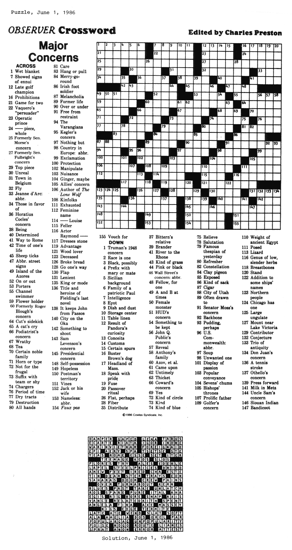 image relating to Thomas Joseph Crossword Puzzles Printable Free identified as Comics Kingdom - Talk to the Archivist: CROSSWORD PUZZLES - 2015