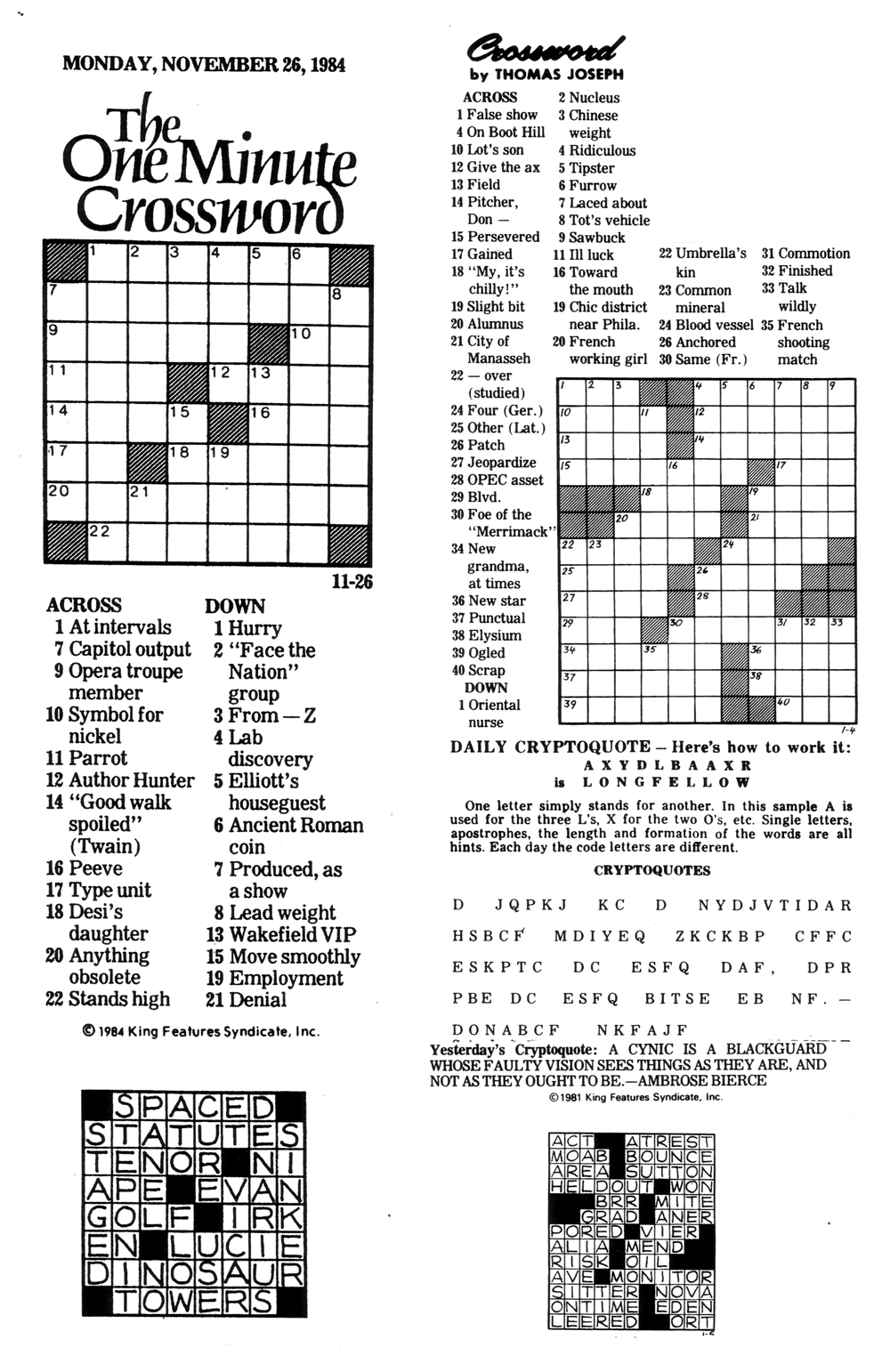 image relating to Thomas Joseph Crossword Puzzles Printable Free named Comics Kingdom - Talk to the Archivist: CROSSWORD PUZZLES - 2015