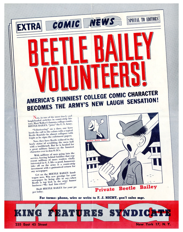 rare King Features BEETLE BAILEY sales brochure from 1951