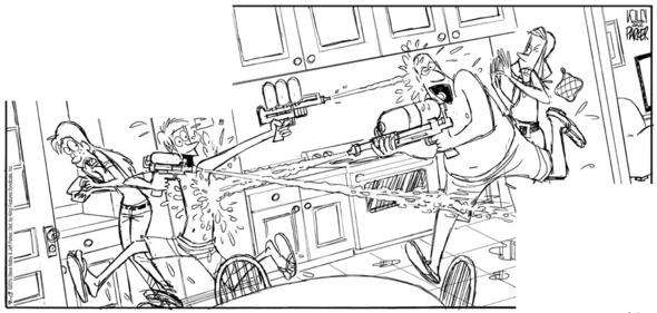 Jeff Parker sketch of Sunday DUSTIN comic panel