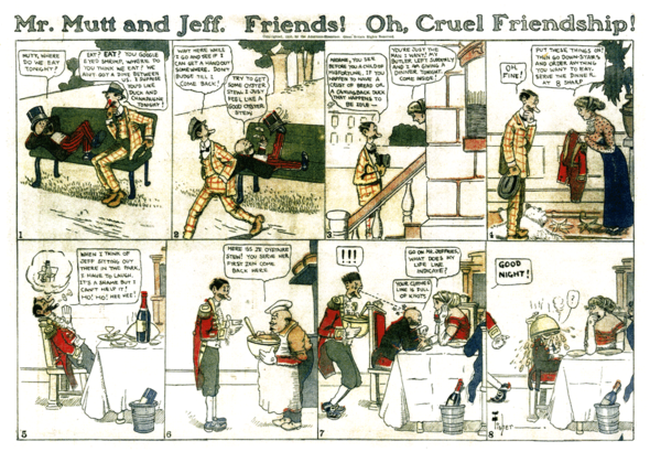 Mutt & Jeff: One of the Sunday section strips. (27 March 1910)