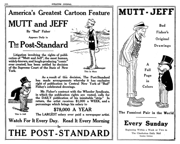 "Promo in the Syracuse Journal (11 September 1915) explains the coming of Fisher's new strip, and one for the Hearst concoction of reissued old ones (1920). Notice there's no ""and"" between the words ""Mutt"" and ""Jeff."""