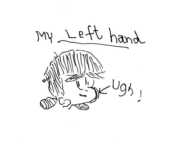 Left-handed art by Rina Piccolo, right-handed cartoonist of Tina's Groove and Six Chix