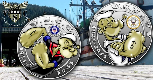 Popeye US Navy and US Coast Guard collectible coin