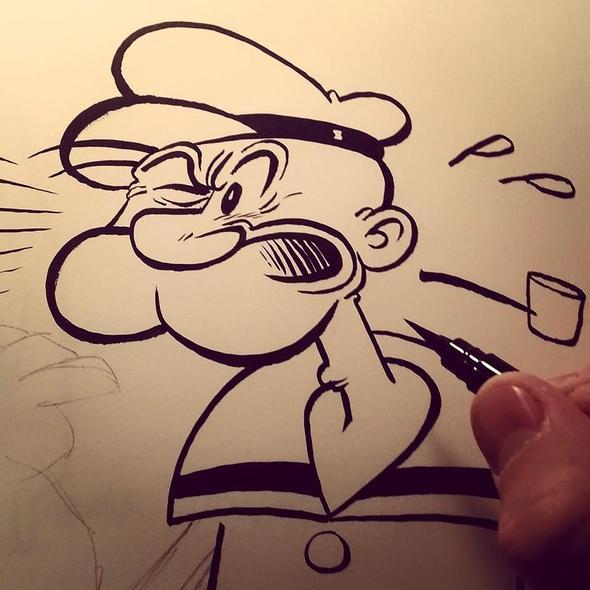 Popeye sketch by cartoonist David Reddick