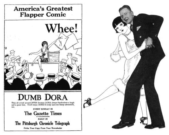 """Dumb Dora"" promotion from 1925, and cartoonist Chic Young tears into a Tango with his comely creation"