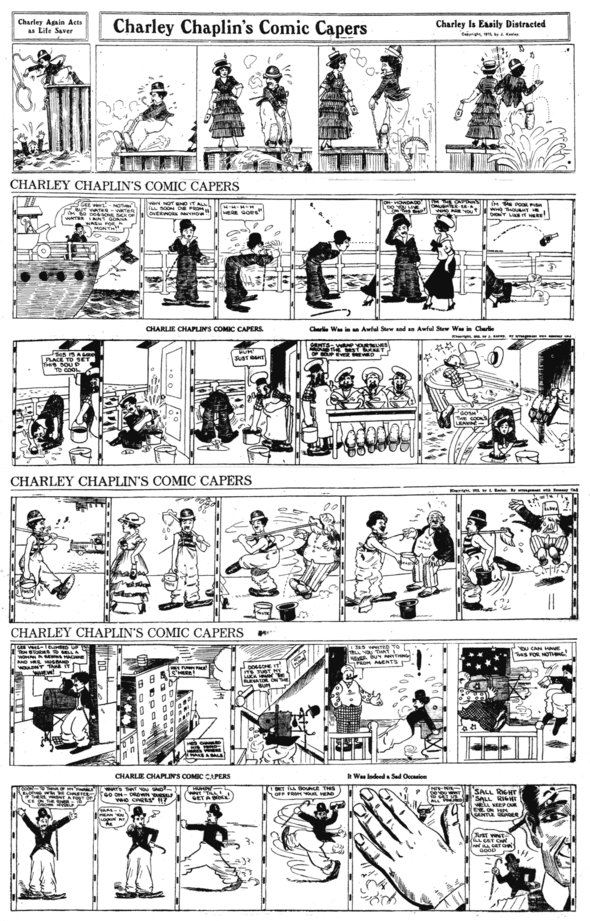"One of the replacement artists includes his face but not his name. The format changed in late 1915, but the ""trash panel"" size was still offered of the same strips."