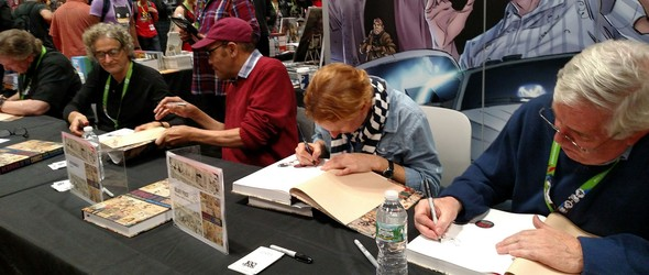 Jeff Keane, Patrick McDonnell, Ray Billingsley, Hillary Price, and Brian Walker sign books