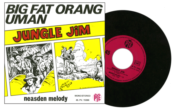 JUNGLE JIM in a French single produced by Disques Vogue, circa 1975. The art on the sleeve is from a 1939 Alex Raymond strip.