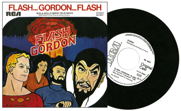 "FLASH GORDON- Italian RCA, 1981. The cover art is from the 1979 Filmation series, so the ""original cast"" designation could be whoever did the dubbed-over voices when they were shown on Italian television."
