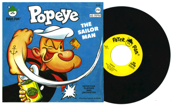 An example of one of the American Popeye records, a Peter Pan title from circa 1965. The artwork is pretty poor, but it's not the worst.