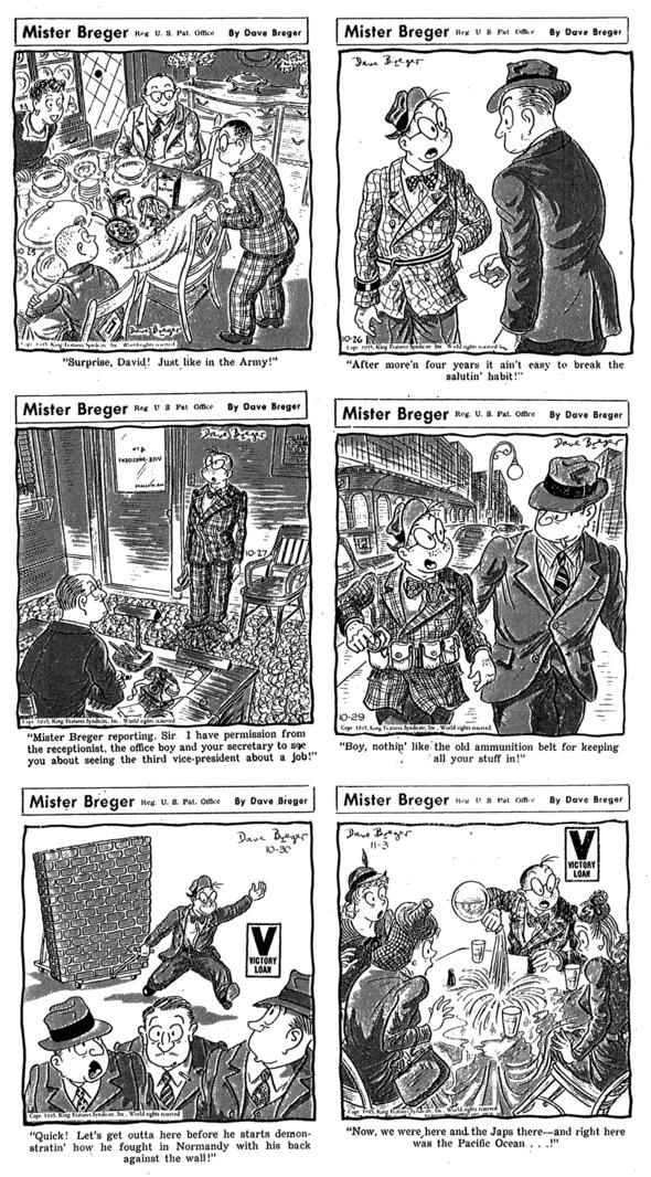 1945 Mister Breger: 25 October, 26 October, 27 October, 29 October, 30 October, 3 November.