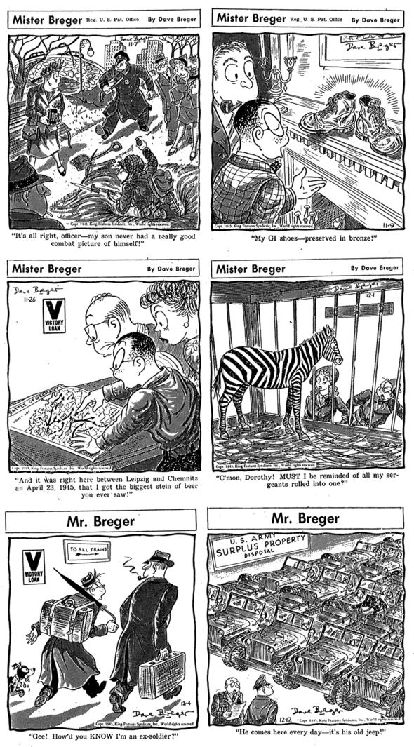 1945 Mister Breger: 7 November, 9 November, 26 November, 1 December, 4 December, 12 December.