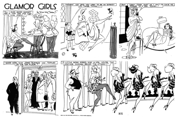 Glamor Girls Sunday 1951. You can tell straight away if a gag was a Sunday or a daily, as flowers only used word balloons on Sunday.