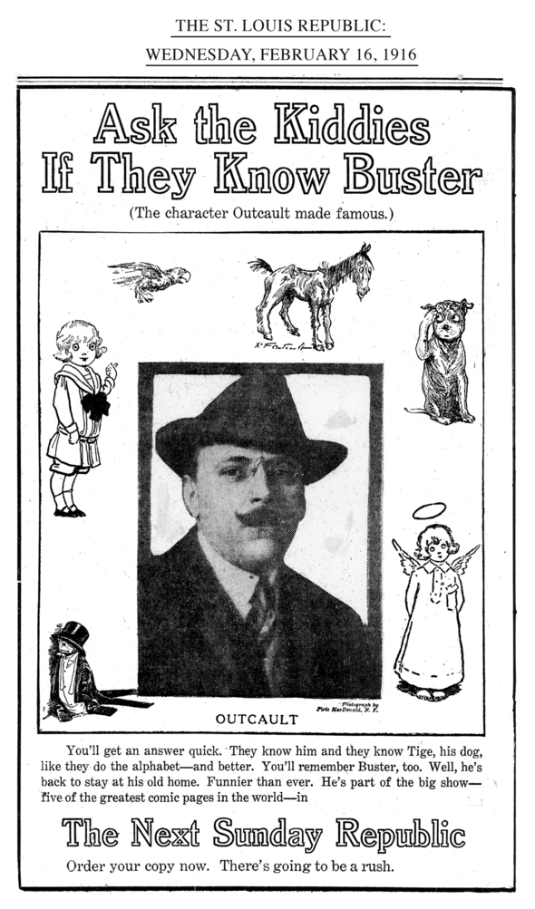 RICHARD F. OUTCAULT LOOKS OUT FROM A LATE ISSUE PROMOTION FOR BUSTER BROWN.