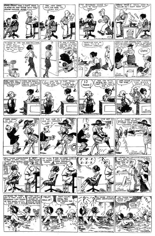 TILLIE THE TOILER 3, 14, & 26 MAY; 18, 21 & 25 JUNE 1921