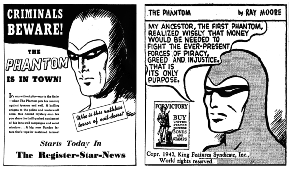 The Phantom glowers in a 1936 Promo and 1942 PSA for defense bonds.