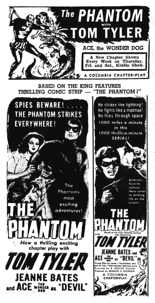 The Phantom's first silver screen venture was in 1943.