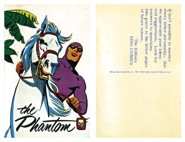 "Fan mail reply post card for readers of the ""King Comics"" Phantom series, 1967. Kind of hard to be satisfied with something like this."