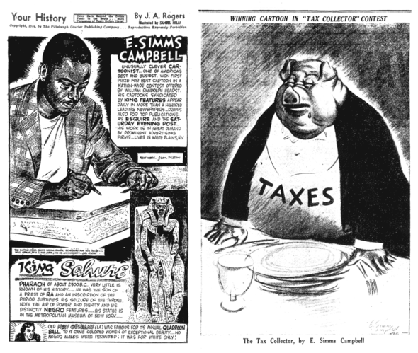 E. Simms Campbell honored in a 1945 Pittsburgh Courier cartoon (left) and his winning entry in an important 1936 Hearst editorial cartoon competition.
