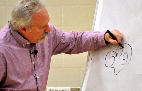 John Rose draws Snuffy for the children