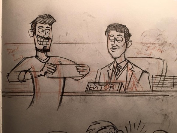 David Reddick draws himself with his editor Brendan Burford