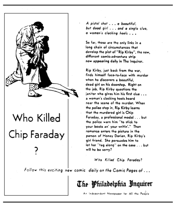 The Philadelphia Inquirer ran this big pulp-fiction-style pitch during the first Rip Kirby story in March 1946.