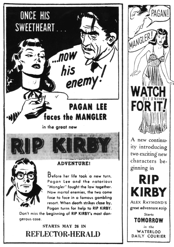 Sometimes, with a popular continuity title, separate promotion for a new story would be issued. Here are two for a 1952 serial.