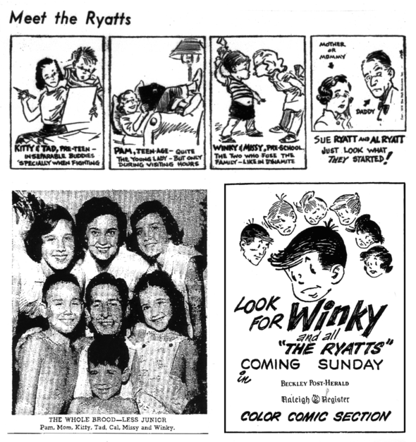 The Ryatts introduction strip, Cal Alley and his muses, and a promo for the Sunday version.