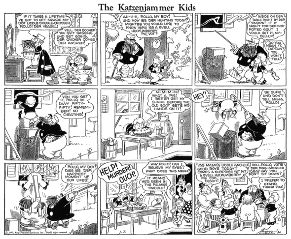KATZENJAMMER KIDS: The first time Hans and Fritz get back at Rollo on 3 January 1937.
