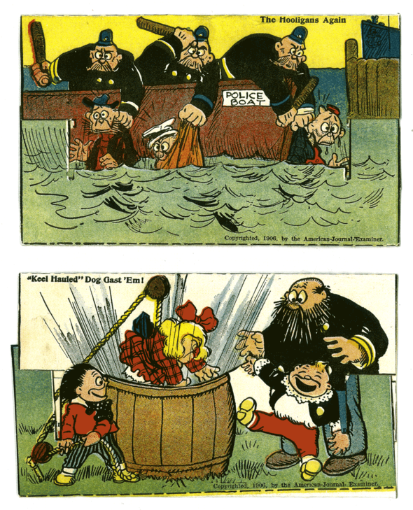 "(Above) Happy Hooligan and his hapless brother and cousin are being battered in the briny deep, and one of Captain John's minions (dressed as a girl) proceeds to get dunked into a barrel by the Katzenjammer Kids in two of the ""mechanical"" cards.     (Below) The same cards as they appeared in an unused, uncut set with the instructions still present."
