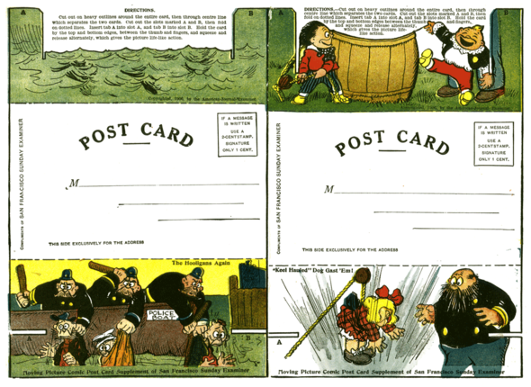 (Below) The same cards as they appeared in an unused, uncut set with the instructions still present.