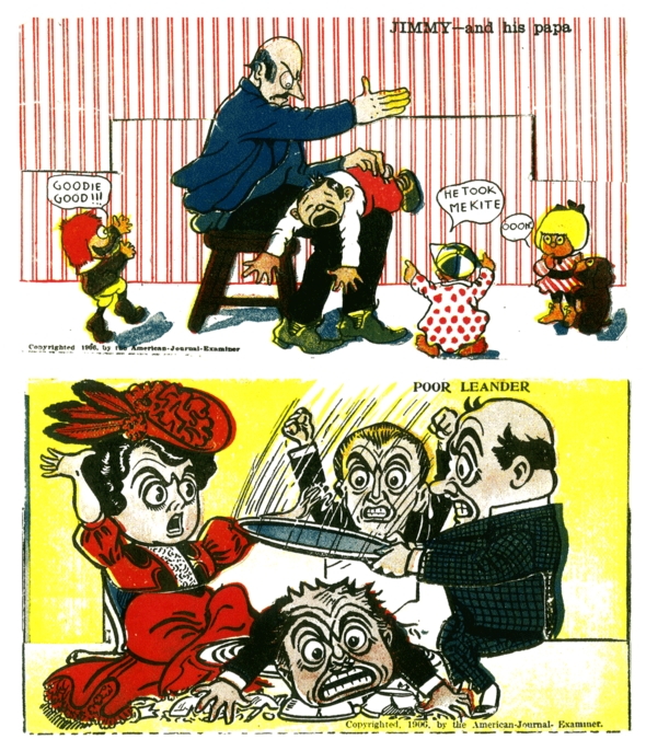 (Above) Little Jimmy pays the price of his trangressions once again, and Leander makes Lulu's dinner party a smash.   (Below) The same cards and their reverse sides, where the message would be scrawled.