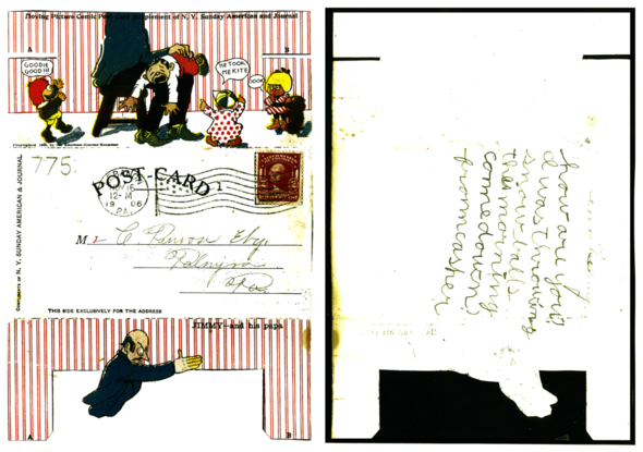 The same cards and their reverse sides, where the message would be scrawled.