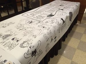Large banner signed by cartoonists for St. Jude Children's Research Hospital