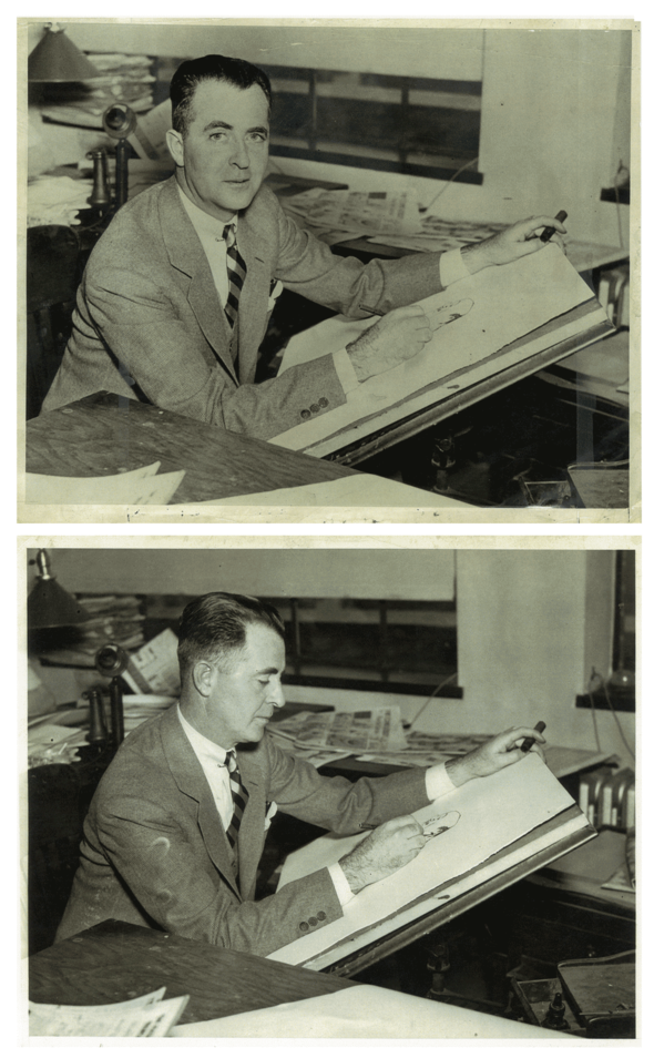 ABOVE: GENE AHERN in 1936, and     BELOW: two seconds later.      He's apparently at the King Features offices in New York. Tossed on the table behind him is the comic section of the New York American for 26 April 1936.