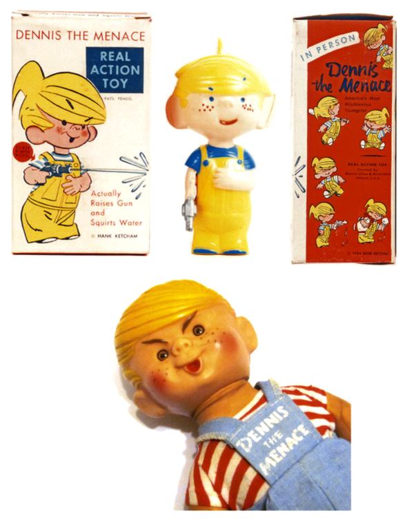 Dennis dolls (Above) A 1954 squirting specimen with its original box and  (Below) Boo! Here's another '50s one that could give Chuckie a run for his money.