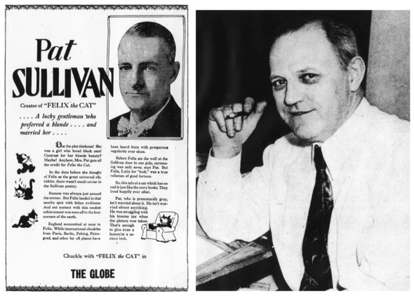 (Left) PAT SULLIVAN (1885-1933) IN A 1927 PROMO FOR THE FELIX THE CAT COMIC STRIP.  (Right) OTTO MESSMER (1892-1983) IN 1949.