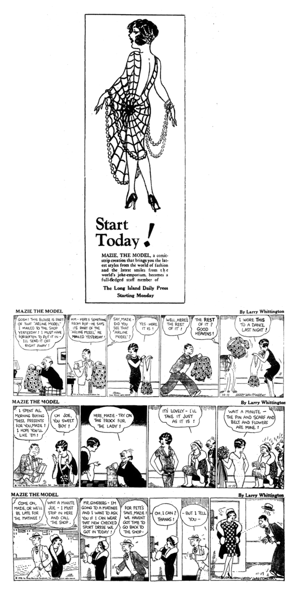 MAZIE THE MODEL Promo from 1927, and strips of 11 October, 17 and 19 November 1926