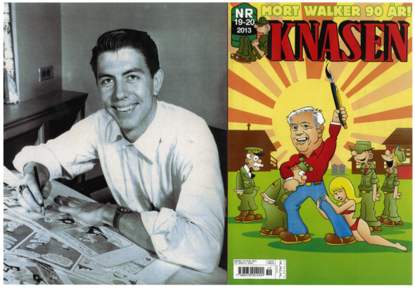 (LEFT) A fresh-faced, twenty-seven-years young Mort Walker pretends to do some pencil work on the Beetle Bailey original artwork of the 23 September 1950 strip, sitting on top of those of 19 and 20 September. (RIGHT) An older, cartoonier version of Mort celebrates his ninetieth birthday by holding Sarge in a headlock on the cover of this 2013 Swedish comic book.