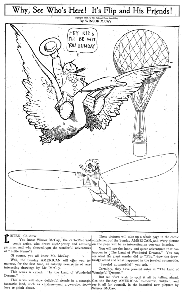 "Special cartoon that appeared in Hearst papers on Saturday, 2 September 1911, in anticipation of the ""In the Land Of Wonderful Dreams"" page, premiering the next day."